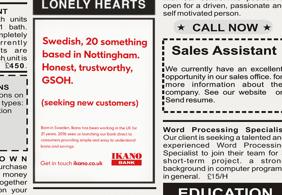 Ikano Lonely Hearts advert blog