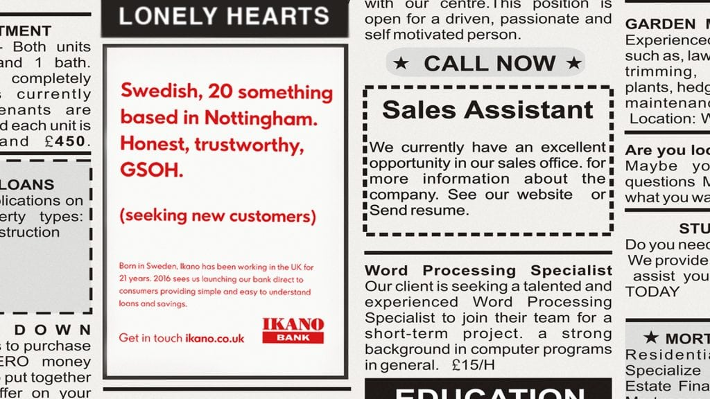 Ikano Lonely Hearts adver